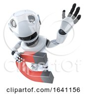 3d Funny Cartoon Robot Character Holding A Magnet