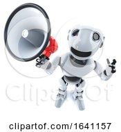 3d Funny Cartoon Robot Chracter Using A Megaphone Loudhailer