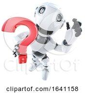 3d Funny Cartoon Robot Character Holding A Question Mark Symbol