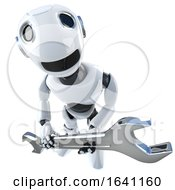 3d Funny Cartoon Robot Character Holding A Spanner Wrench