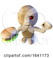 3d Funny Cartoon Halloween Egyptian Mummy Character Eating A Cheese Burger