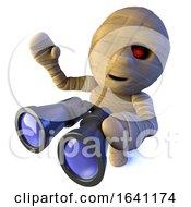 3d Funny Cartoon Egyptian Mummy Monster Character Holding A Pair Of Binoculars