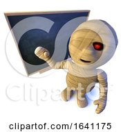 3d Funny Cartoon Egyptian Mummy Monster Character Standing At A Blackboard