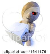 3d Funny Cartoon Egyptian Mummy Monster Character Delivering Some Parcels