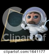 3d Funny Cartoon Spaceman Astronaut Character Floating In Front Of A Blackboard