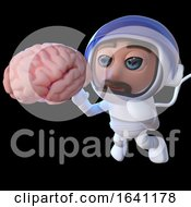 3d Funny Cartoon Spaceman Astronaut Looking At A Human Brain In Space