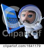 3d Funny Cartoon Spaceman Astronaut Holding A Calculator