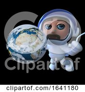 3d Funny Cartoon Spaceman Astronaut Character With Globe Of Earth In Space