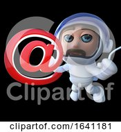 3d Funny Cartoon Spaceman Astronaut Holding An Email Address Symbol
