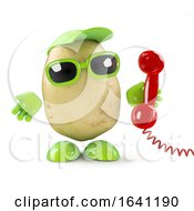 3d Potato Character Answers The Phone