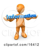 Orange Person Carrying Blue Text Reading Information