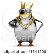3d Rapper Penguin Wears The Gold Crown