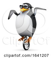 3d Penguin On A Unicycle