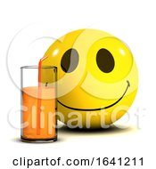 Poster, Art Print Of 3d Smiley Drinking Some Juice From A Glass