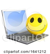 Poster, Art Print Of 3d Smiley Is Using A Laptop
