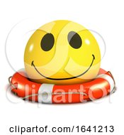 Poster, Art Print Of 3d Smiley Is Floating In A Lifering