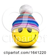 Poster, Art Print Of 3d Smiley Wearing A Wooly Hat In The Cold