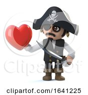 Poster, Art Print Of 3d Pirate Captain Has A Heart