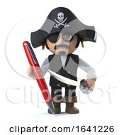 3d Cute Cartoon Pirate Captain Character Signs With A Red Pen