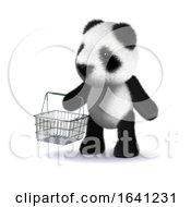 Cute 3d Cartoon Panda Bear Holding A Shopping Basket