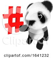 3d Cute And Adorable Baby Panda Bear Character Holding A Hashtag Symbol