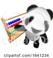 3d Cute And Funny Baby Panda Bear Character Playing With An Abacus