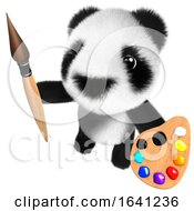 3d Cute And Funny Baby Panda Bear Character Painting With A Brush And Palette