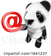 3d Funny Cartoon Baby Panda Bear Character Holding An Email Address Symbol