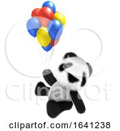 3d Funny Cartoon Baby Panda Bear Character Flying With Some Balloons by Steve Young