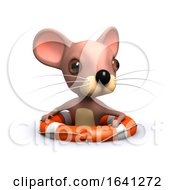 Funny Cartoon 3d Mouse Floating In A Life Ring by Steve Young