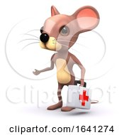 Funny Cartoon 3d Mouse Carrying A Red Cross Medical Kit by Steve Young