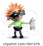 Funny Cartoon 3d Punk Kid With A Spraypain Can