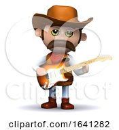 3d Cowboy Sheriff Plays Electric Guitar
