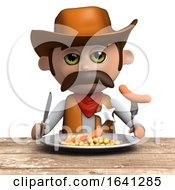 3d Cowboy Sheriff Eating His Dinner