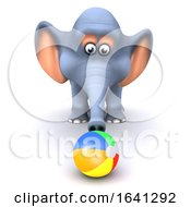 Poster, Art Print Of 3d Elephant Plays On The Beach