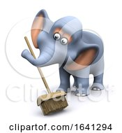 Funny Cartoon 3d Elephant Sweeping With A Broom by Steve Young