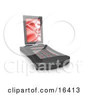 Black Pda Computer With A Small Keyboard And A Red Screen Saver