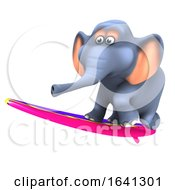 3d Funny Cartoon Elephant Riding A Surfboard by Steve Young
