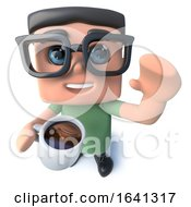 3d Funny Cartoon Nerd Geek Character Drinking A Cup Of Coffee by Steve Young