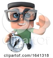 3d Funny Cartoon Computer Nerd Character Holding A Navigational Compass by Steve Young