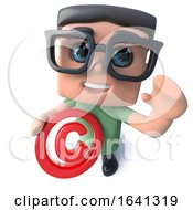 3d Funny Cartoon Nerd Geek Character Holding A Copyright Symbol