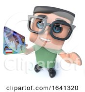 Funny 3d Cartoon Geek Student Character Holding A Credit Card by Steve Young