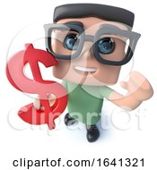 Funny Cartoon 3d Geek Student Character Holding A US Dollar Currency Symbol by Steve Young