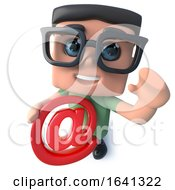 3d Funny Cartoon Computer Nerd Character Holding An Email Address Symbol by Steve Young