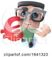 Funny 3d Cartoon Geek Student Character Holding A Euro Currency Symbol by Steve Young
