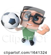 3d Funny Cartoon Computer Nerd Character Holding A Soccer Football by Steve Young