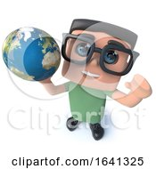 Funny Cartoon 3d Geek Student Character Holding A Globe Of The Earth by Steve Young