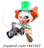 3d Funny Cartoon Clown Character Holding A Camera