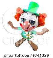 3d Funny Cartoon Crazy Clown Character Cheering With Joy