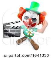 3d Funny Cartoon Crazy Clown Character Holding A Movie Makers Clapperboard